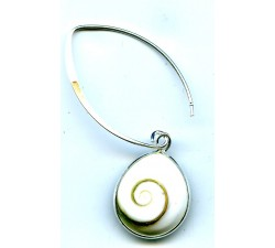Boucle d'oreille argent argent/goutte shiva shell pendante