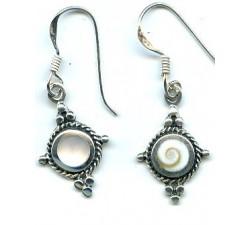 Boucle d'oreille argent pierre/pendante antique