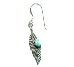 Boucle d'oreille argent pierre/pendante plume turquoise