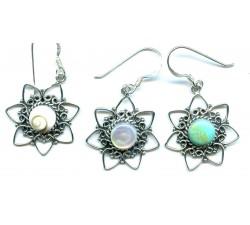 Boucle d'oreille argent pierre/pendante fleur