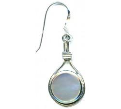 Boucle d'oreille argent pierre pendante/nacre