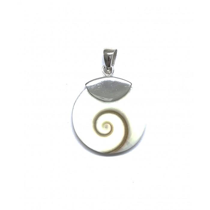 Pendentif argent pierre/shiva shell