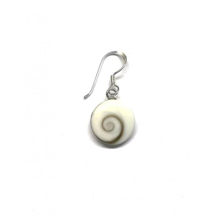 Boucle d'oreille argent pierre pendante/shiva shell
