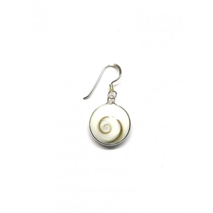 Boucle d'oreille argent pierre/pendante shiva shell