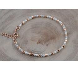 Bracelet argent/ag+rose+perle 3mm