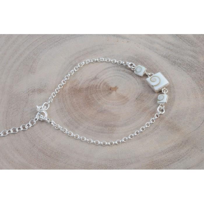 Bracelet argent pierre/shiva shell carrés