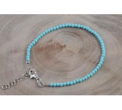 Bracelet argent pierre/turquoise véritable 2mm/rhodié