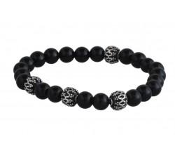 Bracelet argent pierre/black agate/6mm
