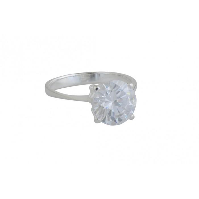 Bague argent pierre/cz blanc 10mm
