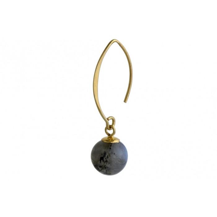 Boucle d ' oreille argent pendante/labradorite/doré