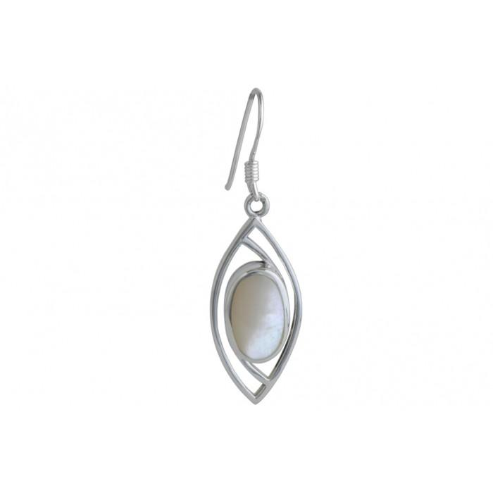Boucle d'oreille argent pierre/pendante + résine époxy