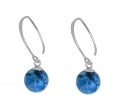 Boucle d'oreille argent pierre/pendante blue crazy agate