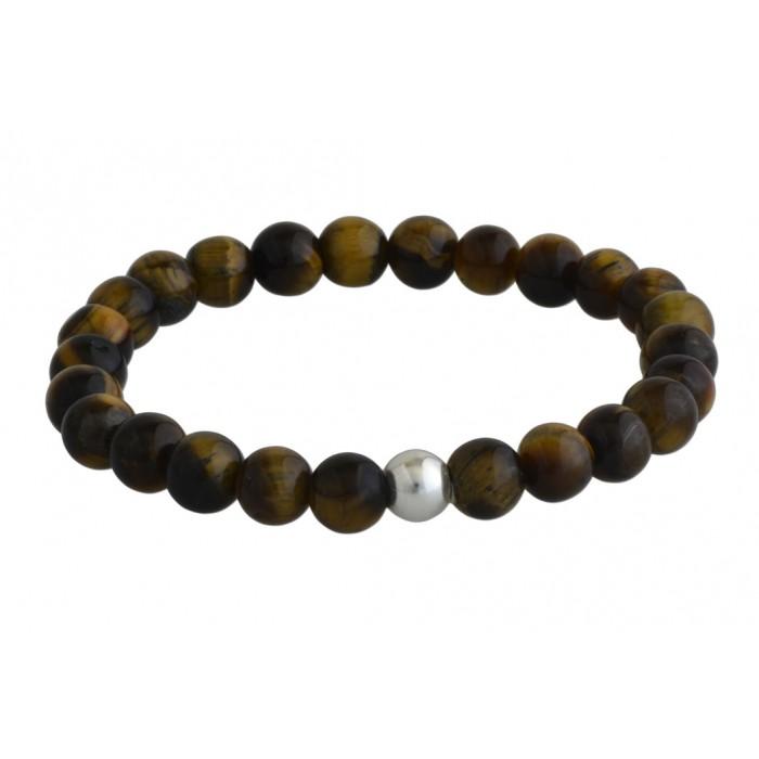 Bracelet argent/tiger eye/6MM