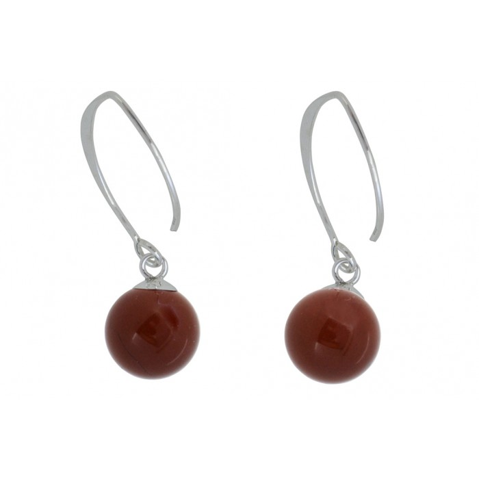 Boucle d'oreille argent pierre/pendante red jasper