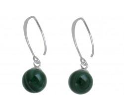 Boucle d'oreille argent pierre/pendante malachite