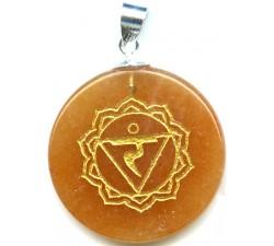 Pendentif argent pierre/chakra du plexus solaire/jade