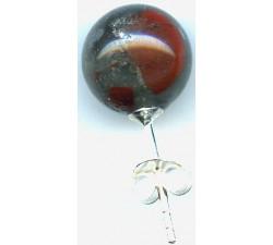 Boucle d'oreille argent pierre/jaspe sanguin