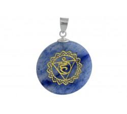 Pendantif argent pierre/chakra de la gorge/blue aventurine