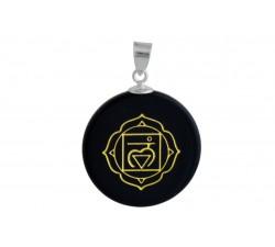 Pendantif argent pierre/chakra racine/obsidienne