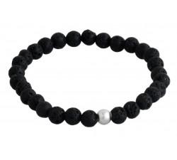 Bracelet élastique argent pierre/pierre de lave/6mm