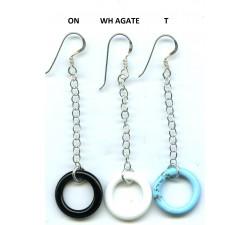 Boucle d'oreille argent pendante pierre/chaîne+cercle