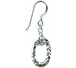 Boucle d'oreille argent pendante/chaîne+anneau ovale diamanté