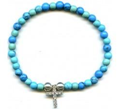 Bracelet argent croix élastique/Turquoise 4 + 5 mm/résine époxy