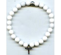 Bracelet argent élastique/agate blanche/6MM