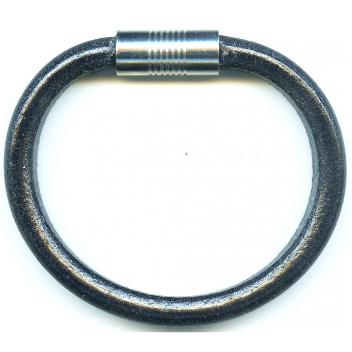 Steel top leather bracelet/magnetic/10mm