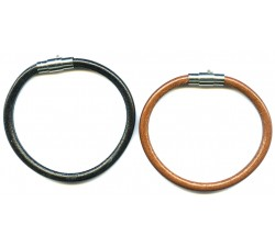 Steel top leather bracelet /magnetic/5mm