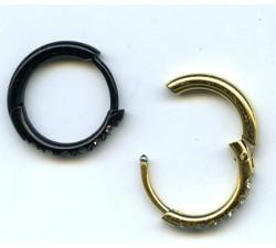 Steel ip gold,ip black earring/articulée/CZ/RE