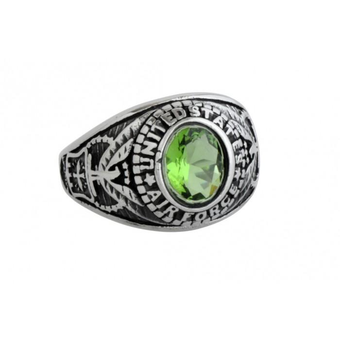 Steel ring/Green CZ