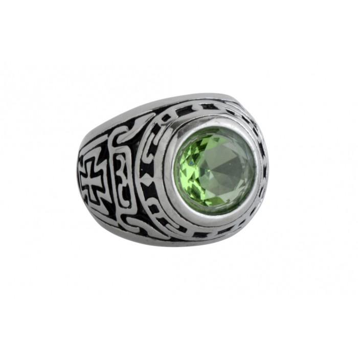 Steel ring/green CZ/résine époxy