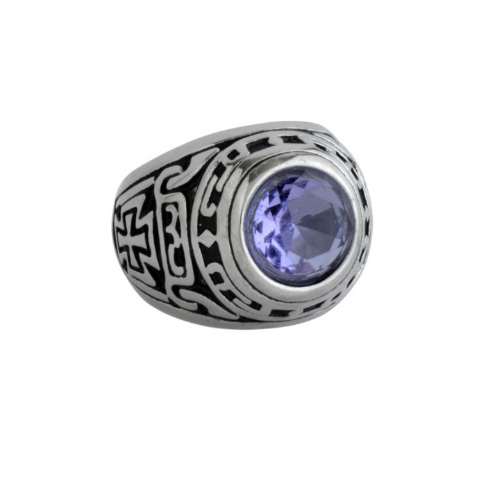 Steel ring/ purple CZ/résine époxy