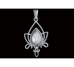 Pendentif argent pierre/fleur de lotus