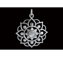 Pendentif argent pierre/grosse fleur de lotus