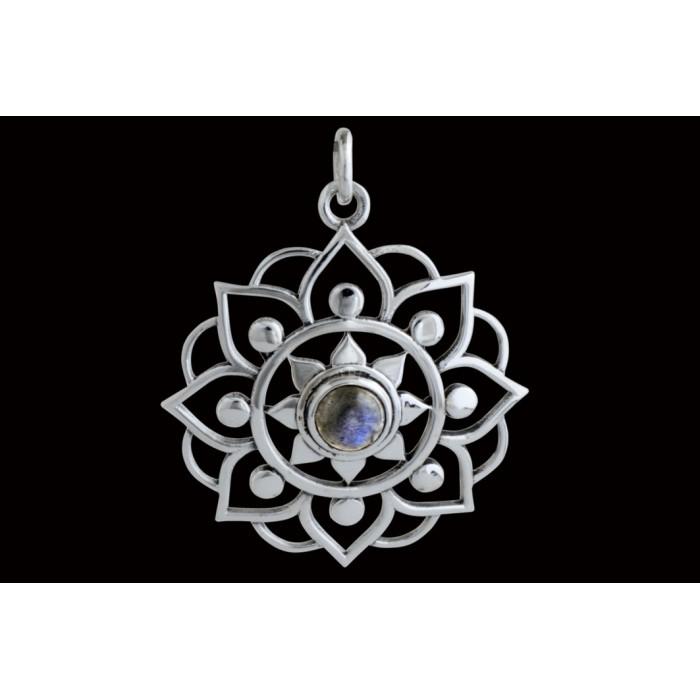 Pendentif argent pierre/petite fleur de lotus
