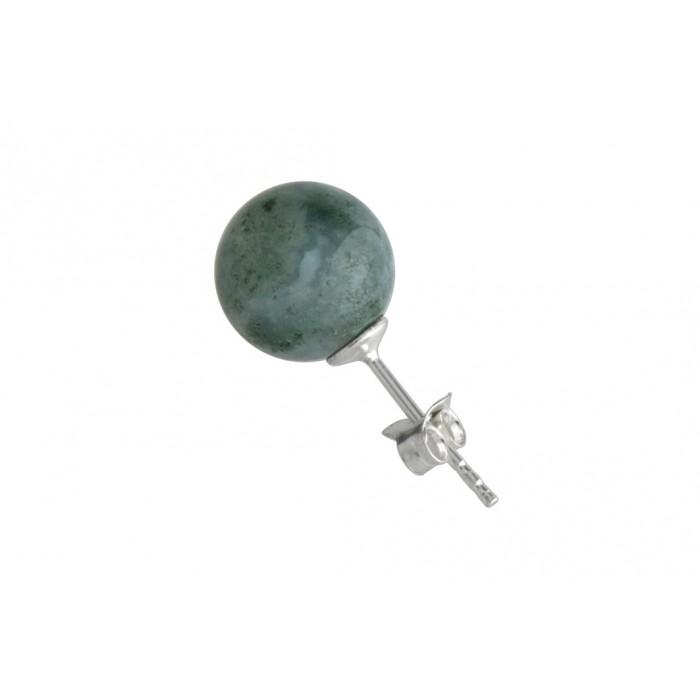 Boucle d'oreille argent pierre/moss agate