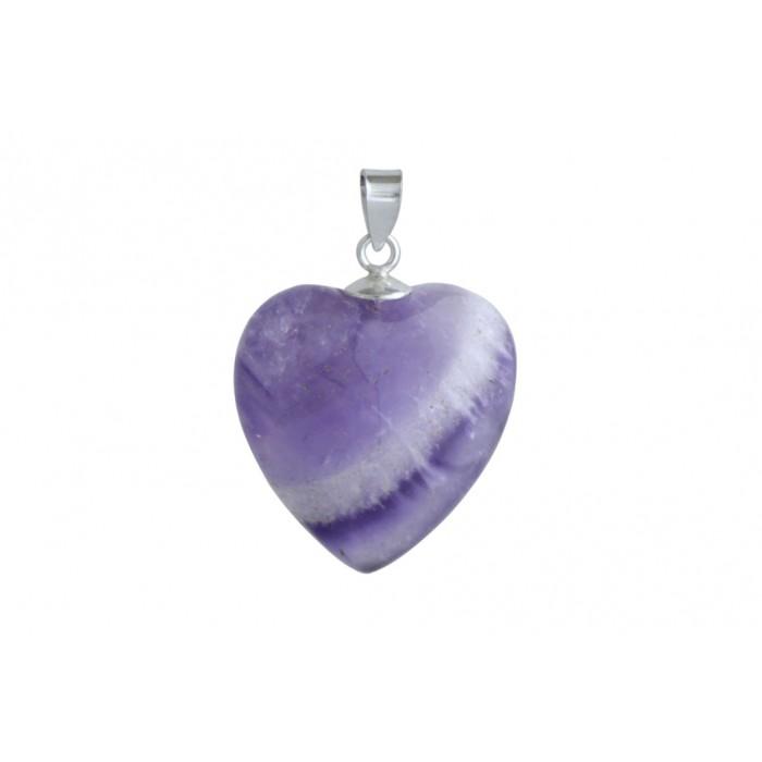 Pendentif argent pierre/coeur