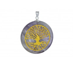 Pendentif argent pierre/arbre de vie
