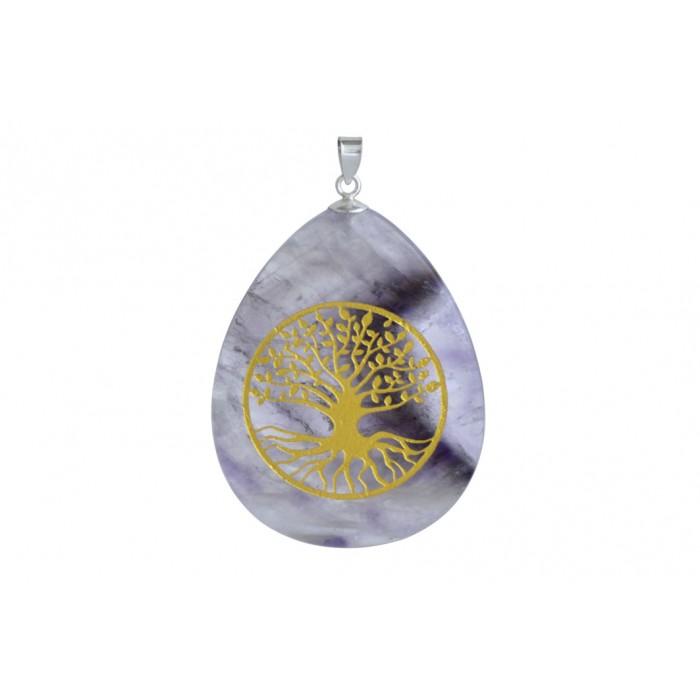 Pendentif argent pierre/arbre de vie/ovale