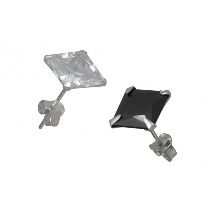 Boucle d'oreille argent pierre/serti carré rhodié